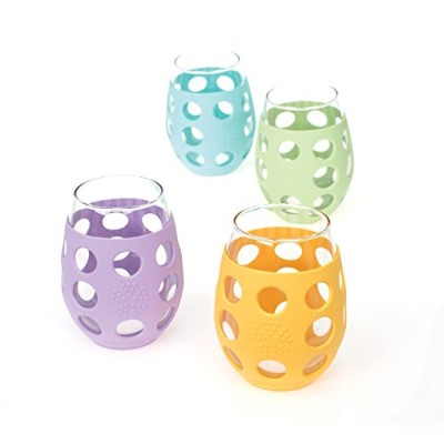 Lifefactory 11-Ounce Small Wine Glasses, Multi-Colored 4-Pack ガラス コップ カップ 300ml 4個セット