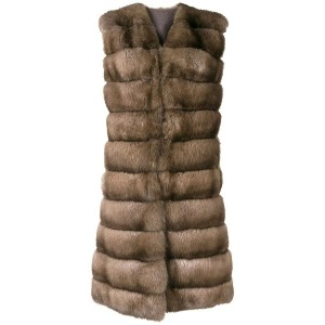 Liska sleeveless fur gilet - ニュートラル