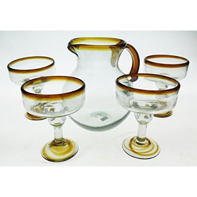 Mexican Margarita Glasses and Matchingピッチャー、オレンジリム(Set of 5)