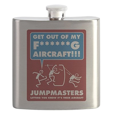 CafePress – Jumpmasters – Letting You Know Its Their Aircraft – ステンレススチールフラスコ、6オンスDrinkingフラスコ