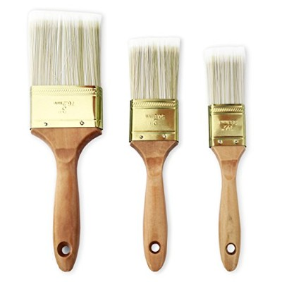 The Shop 1220デラックス3パックフラットペイントブラシforアクリル、チョーク、オイルpaints- Great for Wall andキャンバスで使用可能、画家、画家。Washable