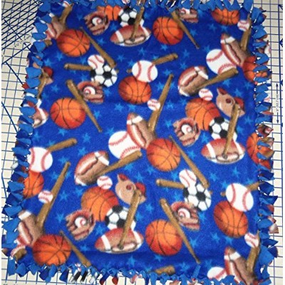 Sports Blanket Football Baseball Basketball Fleece Hand Tied Baby Pet Lap made by Scrunchies by...