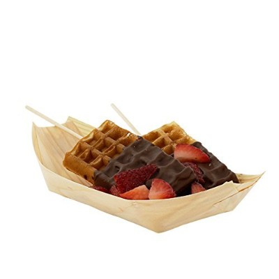 CiboWares Wooden Serving Boat, 8.5 x 4, Package of 50 by CiboWares