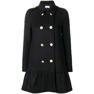 Red Valentino flared double-breasted coat - ブラック