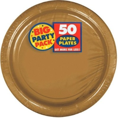 Set of 3 Amscan Big Party PackゴールドPaper Dinner Plates 50 ctバンドルby Maven Gifts