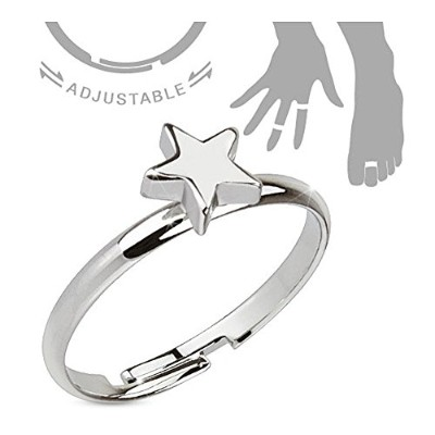 Petite Star Adjustableロジウムメッキ真鍮mid-ring / Toe Ring ( Sold Ind。)