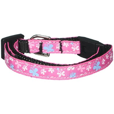 Mirage Pet Products 125-005 CTPK Butterfly Nylon Ribbon Collar Pink Cat Safety