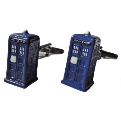 Doctor Who TARDIS 3D Metal/Enamel CUFFLINKS