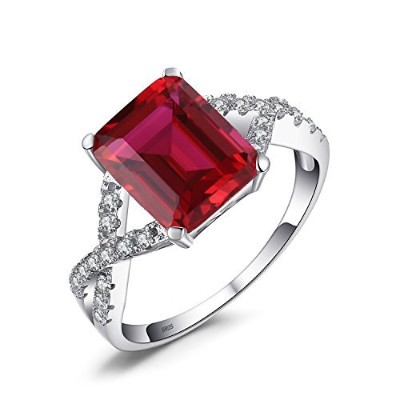 jewelrypalace女性用4.6CT CreatedレッドRuby約束リング925スターリングシルバー