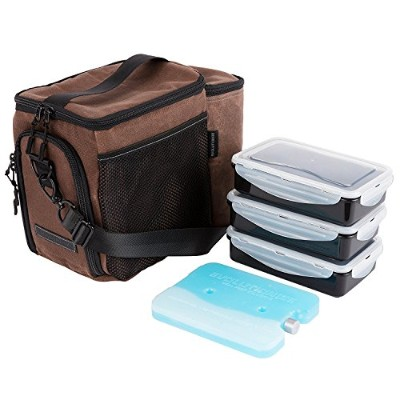 edc Meal Prepバッグby Evolutionize – フル食事管理システムIncludes部分制御Meal Prepコンテナ+ Ice Pack 3 Meal