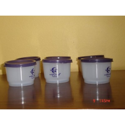 Tupperware Snack Cupsセットof 6with Bluish Purpleシール&前面にデザイン