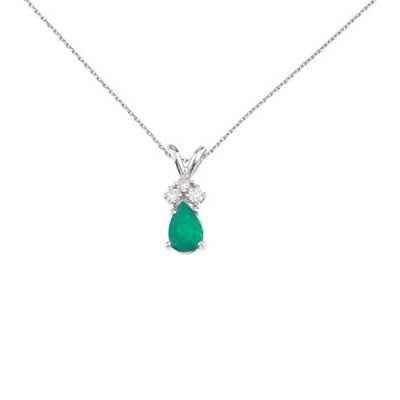 14 Kホワイトゴールド本物誕生石Pear Shaped Gemstone Pendant with Diamonds (2 / 5 cttw。)