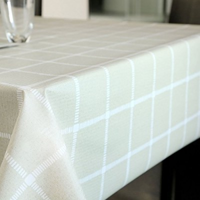 """(54"""" x 108""""-140x275 cm, Matcha Plaid) - LEEVAN Heavy Weight Vinyl Rectangle Table Cover Wipe Clean..."""