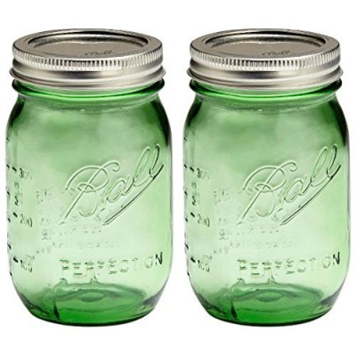 Set of TWO GREEN Genuine Heritage 100 Year Anniversary Edition BALL MASON JARS (pint) Bundled with...