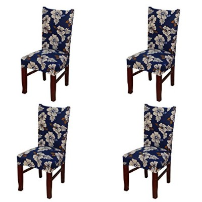 (Style 21) - 4 x Soulfeel Soft Spandex Fit Stretch Short Dining Room Chair Covers with Printed...