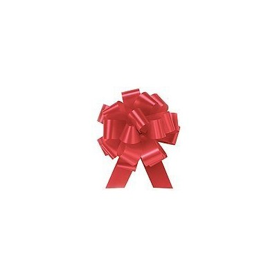 IMPERIAL RED Pull String Bows - 8 Wide 20 Loops (2 & 1/2 ribbon) Set of 10 LARGE by Premium Quality Gift Wrap Paper