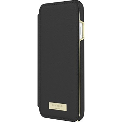 kate spade new york Cell Phone Case for Apple iPhone 7 - Saffiano Black/Gold Logo Plate by Kate...