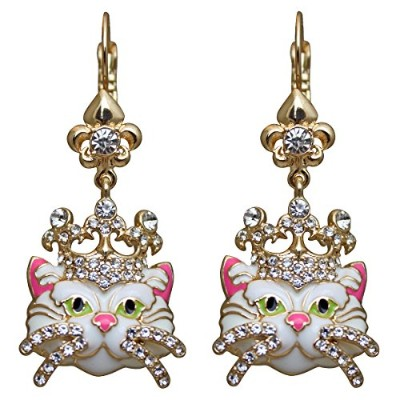 Ritzy Couture Princess KittyドロップLeverbackイヤリング ホワイト