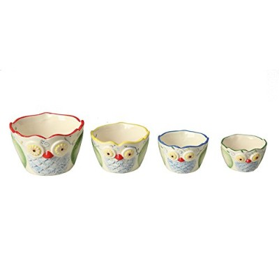 Creative Co-op Dolomite Owl Measuring Cups, Multicolored, Set of 4 by Creative Co-op