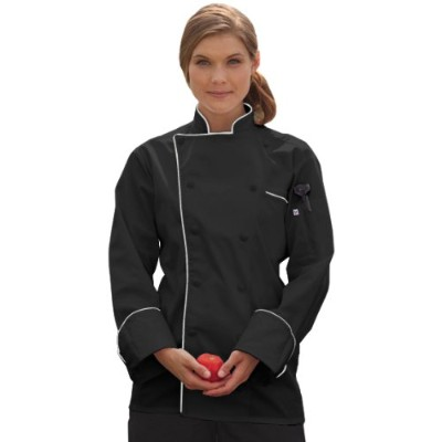 Uncommon Threads 0432-6007 Murano Chef Coat in Black with White Piping - 3XLarge