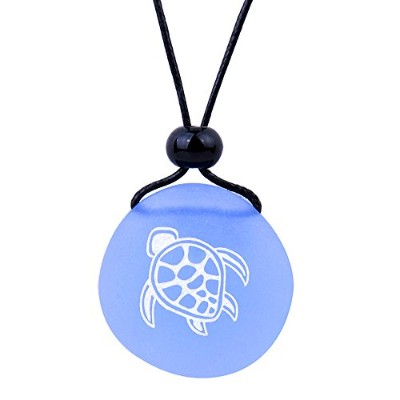 BestAmulets Amulet Frosted海ガラスストーンAdorable Magic Turtle Good Luck Powersスカイブルー調節可能なネックレス