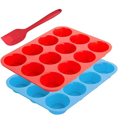 12-Cup Silicone Muffin Mould Bonus with Spatula, SourceTon 3 pcs pack of Muffin Mould and Spatula...
