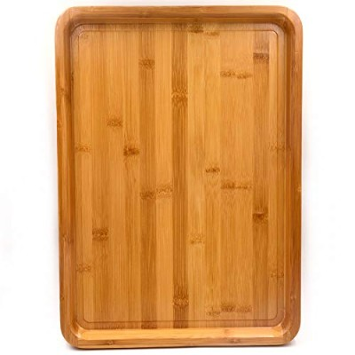 (Bamboo - 18'' x 13'' x 1.2'' - XL Size) - Bamber Large Size Bamboo Serving Tray, Rectangular, 18 x...