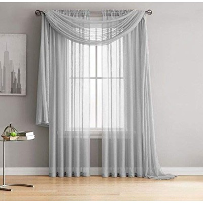 (54 W x 63 L inch - Each Panel, Silver) - Jane - Rod Pocket Semi-Sheer Curtains - 2 Pieces - Total...