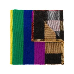 Burberry Reversible Rainbow Stripe and Check Cashmere Scarf - ニュートラル