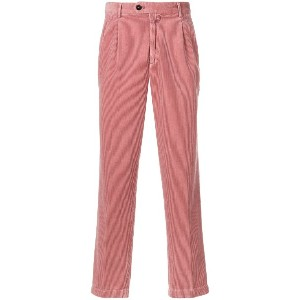 Closed corduroy fitted trousers - ピンク&パープル