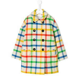 Burberry Kids checked double breasted coat - ヌード&ナチュラル