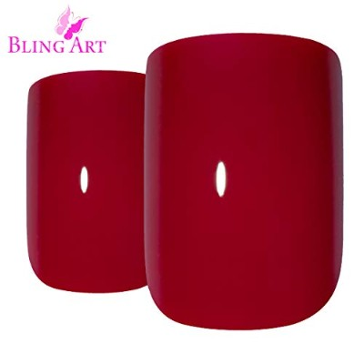 Bling Art False Nails French Fake Red Fire Squoval 24 Acrylic Medium Tips Glue