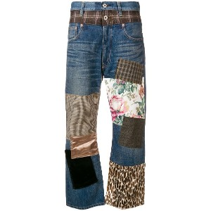 Junya Watanabe cropped patchwork jeans - ブルー