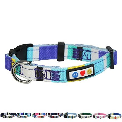 Pawtitas Polyester Extra Small Dog Collar Blue White Yellow 3/8 Inch by PAWTITAS