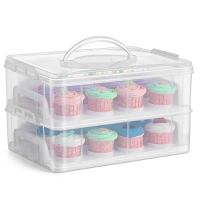 (24 Slot, 2 Tier) - Flexzion Cupcake Carrier Holder Container Box (24 Slot, 2 Tier) - 24 Cupcakes...