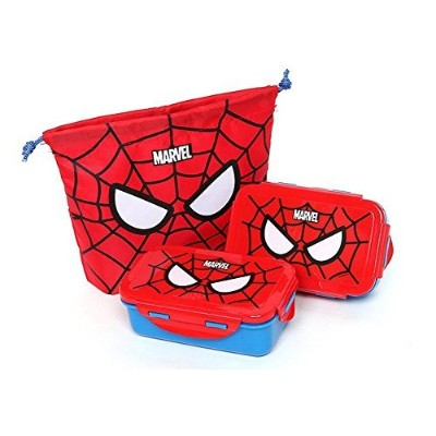 Marvel Spider Man Lunch Box Bento Case X2 with Bag by Marvel