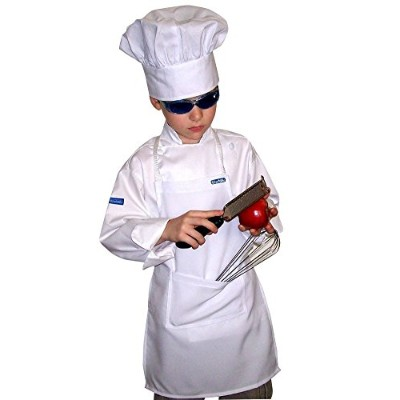(20, ADULT (18+ YRS)) - CHEFSKIN WHITE APRON KIDS CHILDREN AVAILABLE IN ALL SIZES REAL FABRIC 100%...
