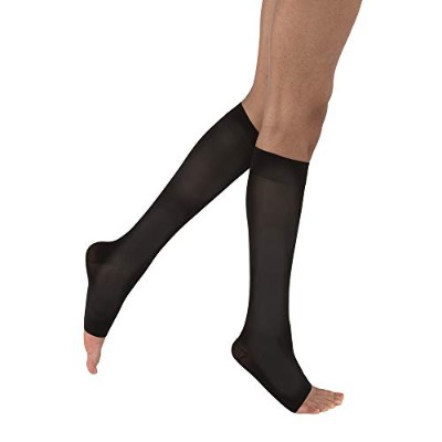 Women's Opaque 15-20 mmHg Open Toe Knee High Support Stocking Size: Large, Color: Classic Black by...