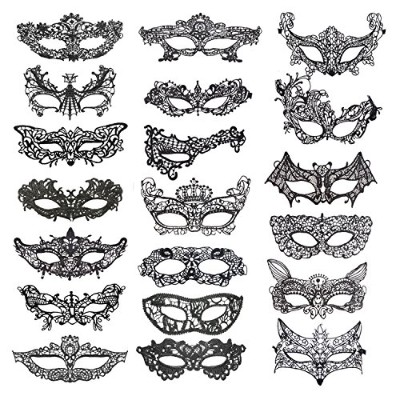 Coobey 20 Pieces Lace Mask Masquerade Venetian Eyemask Halloween Sexy Woman Lace Mask for Halloween...