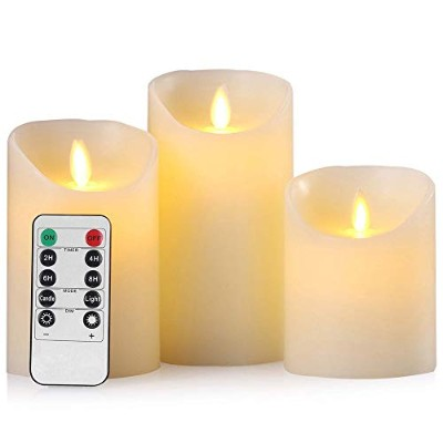 Rentian Flameless Pillar Candle Flicker Like a Real Candle 3.15 Inch ホワイト