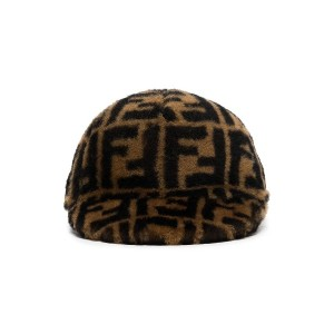 Fendi Black and Brown Printed Cashmere and Wool Cap - ブラウン