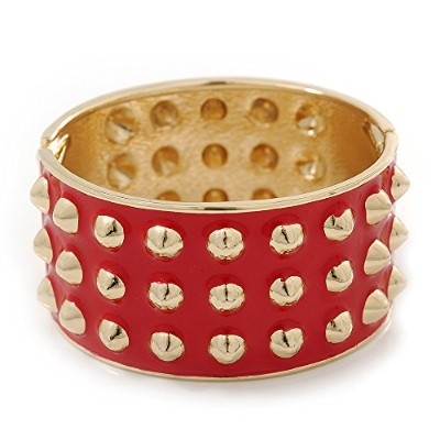 Chunky明るい赤エナメルSpiked Hinged Bangle In Gold Plating–19cm長