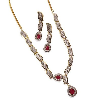Ruby CZネックレスセットby MP Fine Jewelry Real Diamond Look