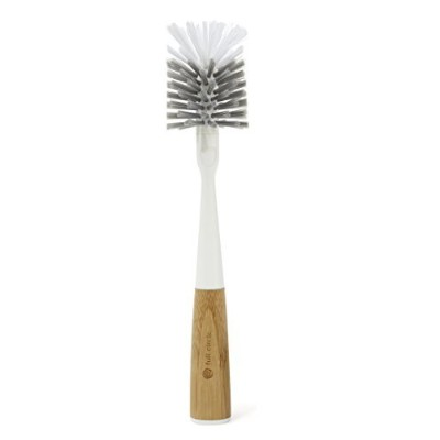 Full Circle Clean Reach Bottle Brush with Replaceable Bristel Brush Head, Bamboo Handle, Grey