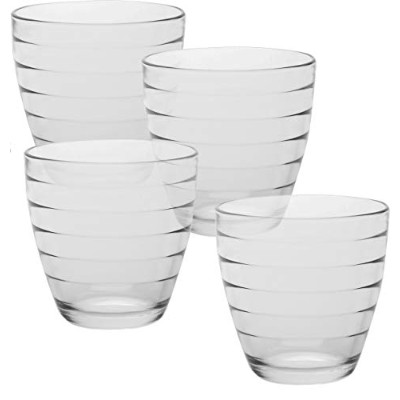 Circleware Ring Double Old Fashioned Whiskey Juice Drinking Glasses, Set of 4, 380ml