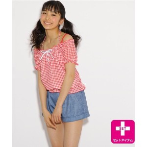 【PINK-latte(ピンク ラテ)】 水着×トップス×ショーパン3点セット(ギンガム) OUTLET > 水着 > その他 レッド