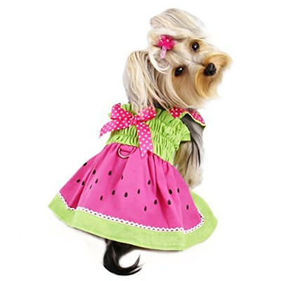 Klippo Pet KDR056XS Juicy Watermelon Sundress With Large D-ring - Extra Small