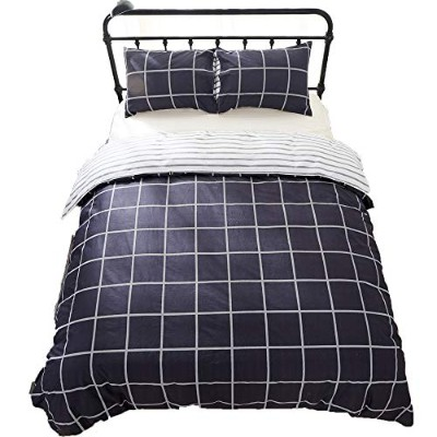 (Full/Queen, Dark Navy) - ClothKnow 100% Cotton Duvet Cover Sets Queen Dark Navy - Grid Striped...