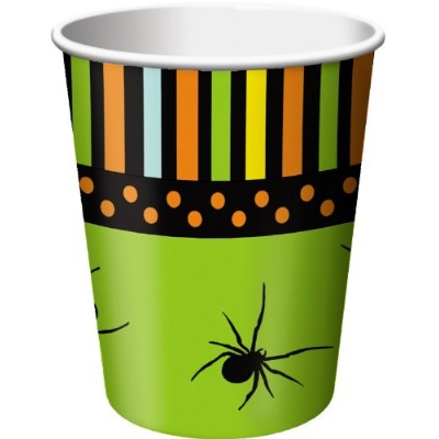 8-count 9-ounceホット/コールド紙飲料カップ、Halloween Spooky Spiders