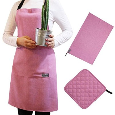 (Mauve) - Maison De Coco Cs50 Linen Textured Apron Set with Multi Purpose Cloth and Pot Holder 3...